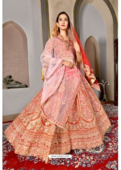 Orange Bridal Heavy Embroidered Silk Lehenga Choli