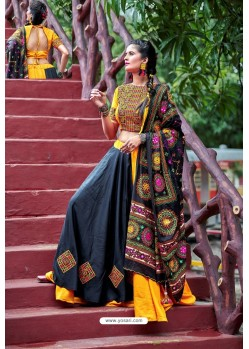 Yellow And Black Designer Ethnic Wear Navratri Ras Special Lehenga Choli