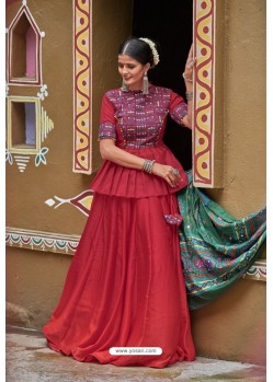 Maroon Designer Ethnic Wear Navratri Ras Special Lehenga Choli