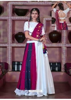 White Designer Ethnic Wear Rajasthani Style Lehenga Choli