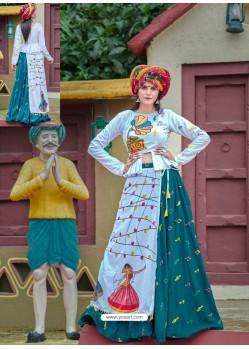 Teal Designer Ethnic Wear Rajasthani Style Lehenga Choli