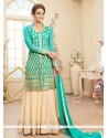 Sea Green And Cream Net Lehenga Choli