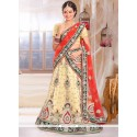Pleasant Cream Net Bridal Lehenga Choli