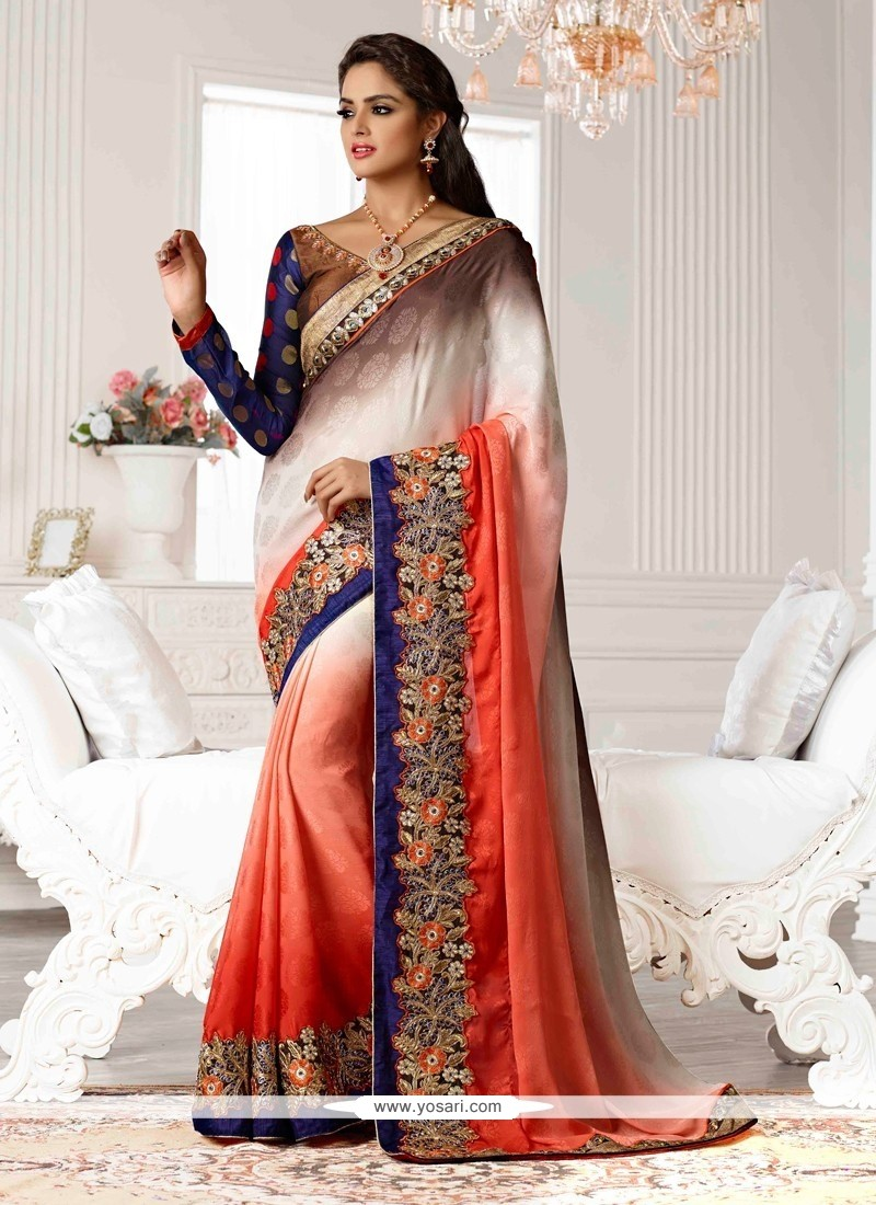 Orange And Brown Shaded Jacquard Designer Saree