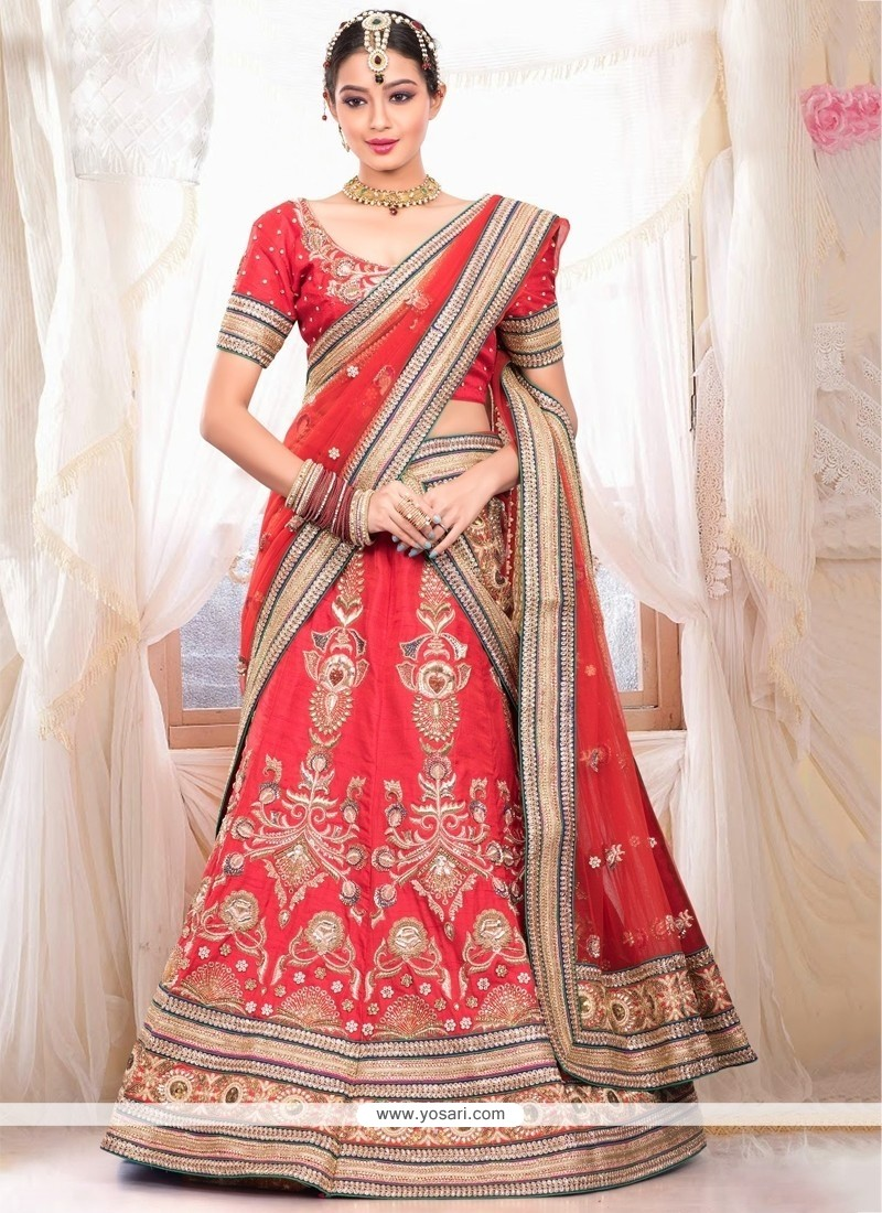 Classy Red Raw Silk Wedding Lehenga Choli