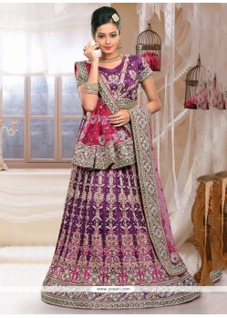 Fabulous Purple Net Bridal Lehenga Choli