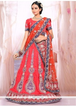 Ombre Red Raw Silk Wedding Lehenga Choli