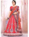 Ombre Red Raw Silk Wedding Lehenga Choli