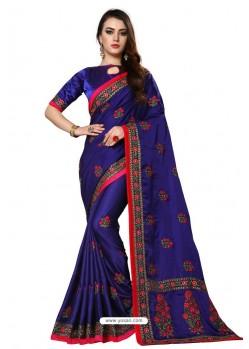 Royal Blue Designer Heavy Embroidered Party Wear Art Silk Sari