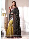Lustrous Black And Yellow Shaded Chiffon Designer Saree