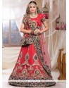 Tantalizing Red Net Wedding Lehenga Choli