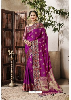Magenta Designer Party Wear Silk Sari