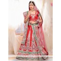 Stunning Red Raw Silk Wedding Lehenga Choli