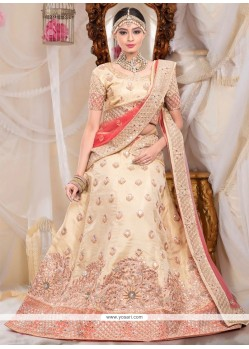 Pleasant Cream Raw Silk Designer Lehenga Choli