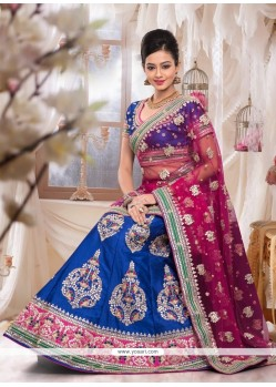 Pleasing Blue Raw Silk Bridal Lehenga Choli