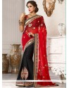 Imperial Black And Red Jacquard Designer Saree