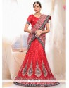 Embellished Red Net Bridal Lehenga Choli