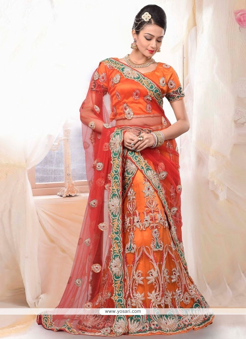 Miraculous Orange Net Bridal Lehenga Choli