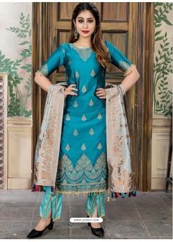 Blue Heavy Party Wear Banarasi Jacquard Palazzo Suit