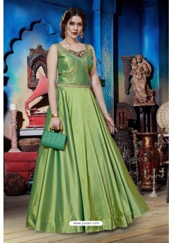 Green Soft Silk Designer Readymade Gown