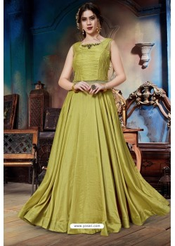 Corn Soft Silk Designer Readymade Gown
