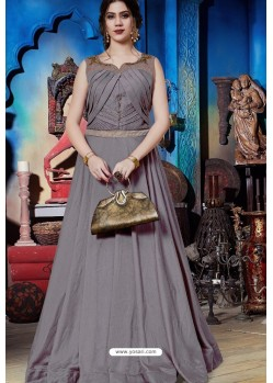 Grey Soft Silk Designer Readymade Gown