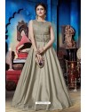 Taupe Soft Silk Designer Readymade Gown
