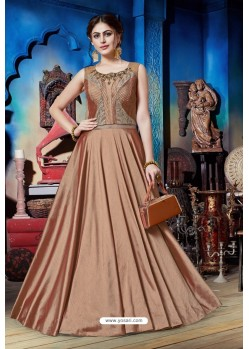 Rust Soft Silk Designer Readymade Gown