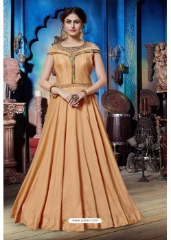 Light Orange Soft Silk Designer Readymade Gown