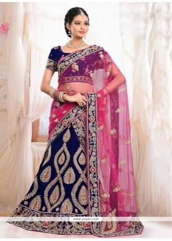 Exquisite Blue Velvet Bridal Lehenga Choli