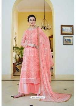 Light Pink Organza Embroidered Designer Palazzo Suit