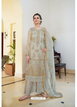 Light Grey Organza Embroidered Designer Palazzo Suit