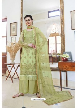 Green Organza Embroidered Designer Palazzo Suit