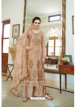 Beige Organza Embroidered Designer Palazzo Suit