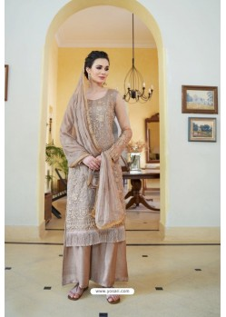 Light Brown Organza Embroidered Designer Palazzo Suit