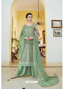 Mehendi Organza Embroidered Designer Palazzo Suit