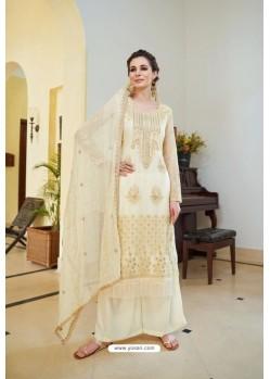 Elegant Cream Organza Embroidered Designer Palazzo Suit
