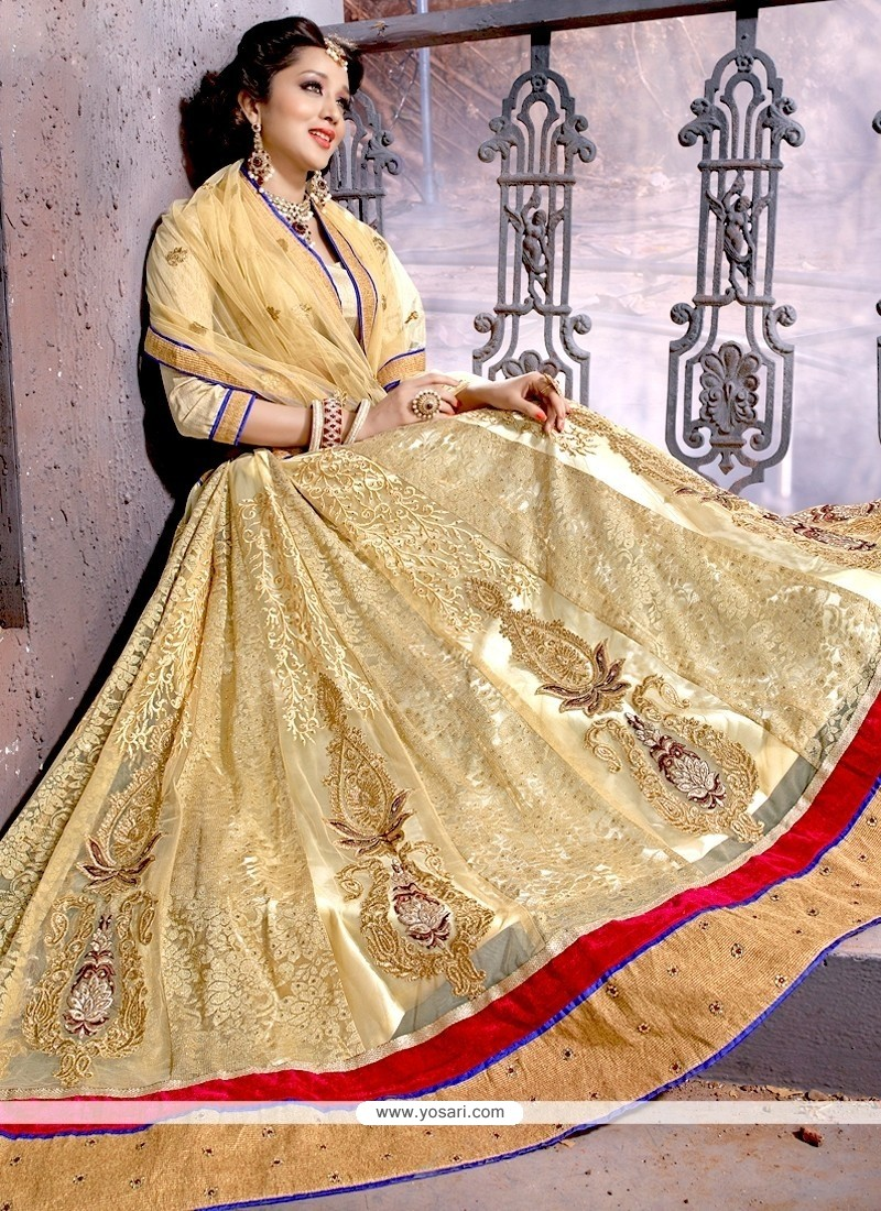 Blissful Beige Patch Border Work Net Designer Lehenga Choli