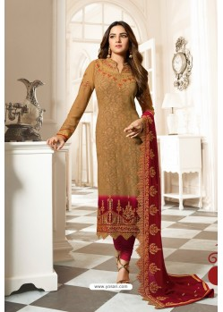 Beige Special Designer Embroidered Churidar Salwar Suit