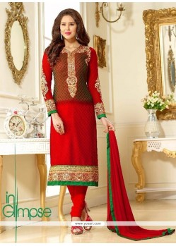 Astonishing Brasso Georgette Brown And Red Embroidered Work Churidar Salwar Suit