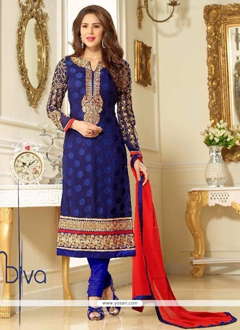 Entrancing Embroidered Work Blue Churidar Salwar Kameez