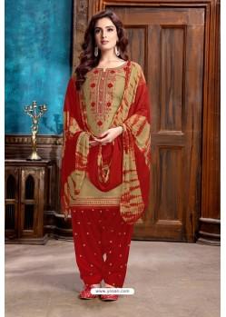 Beige Designer Embroidered Punjabi Patiala Suit