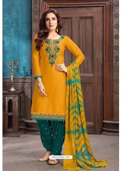 Yellow Designer Embroidered Punjabi Patiala Suit