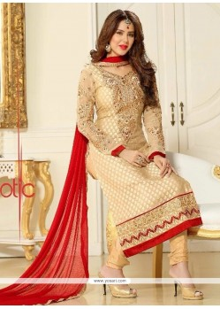 Remarkable Resham Work Brasso Georgette Churidar Salwar Kameez