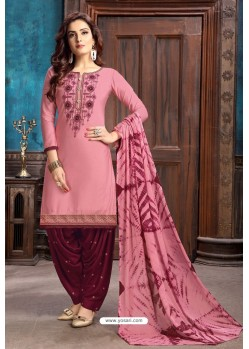 Pink Designer Embroidered Punjabi Patiala Suit