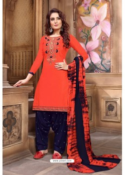 Orange Designer Embroidered Punjabi Patiala Suit