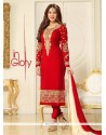 Dazzling Lace Work Red Churidar Suit