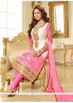 Luxurious Pink And White Embroidered Work Brasso Georgette Churidar Designer Suit