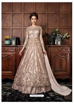 Light Brown Heavy Embroidered Lehenga Style Designer Anarkali Suit