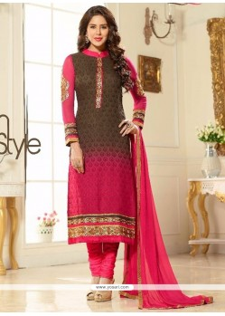 Energetic Brasso Georgette Hot Pink And Brown Churidar Salwar Suit